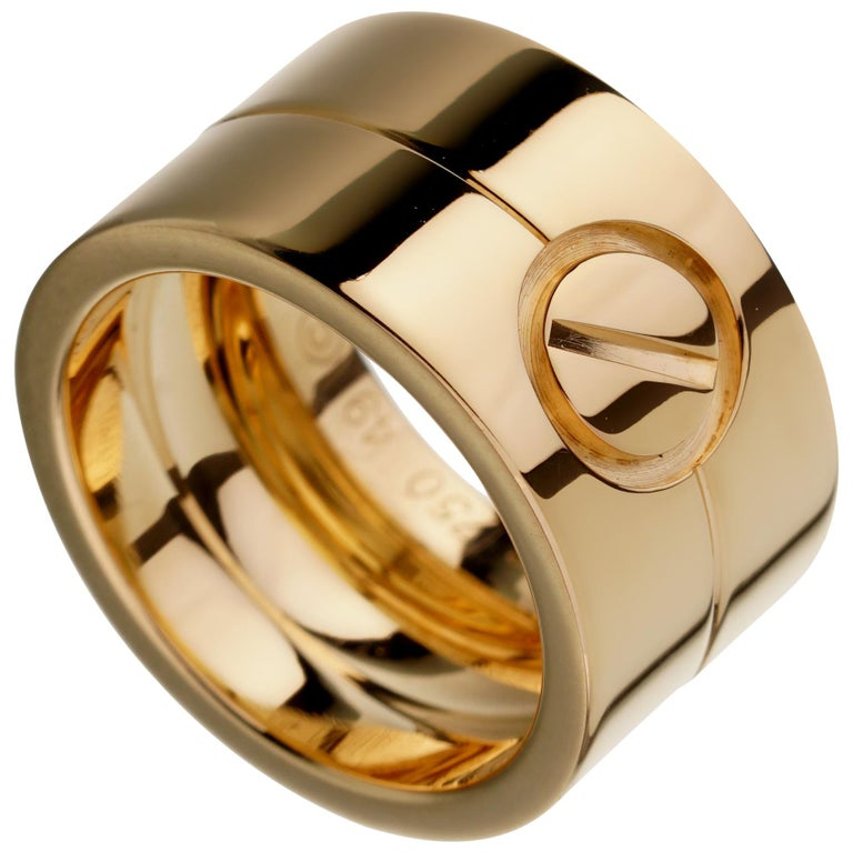 Cartier Love Wide Yellow Gold Band Ring For Sale