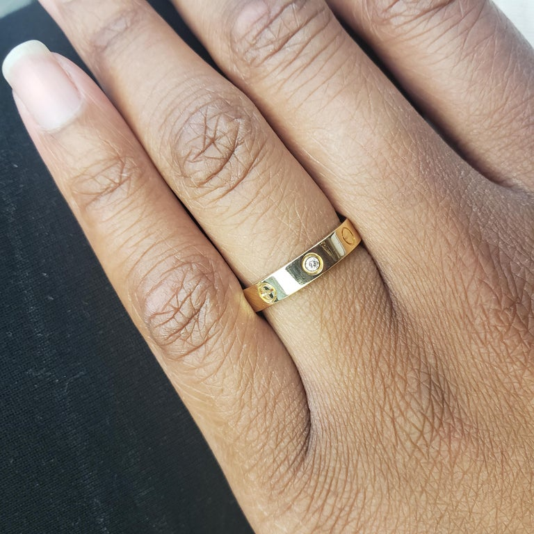 Women's or Men's Cartier 'Love' Yellow Gold and Diamond Ring For Sale