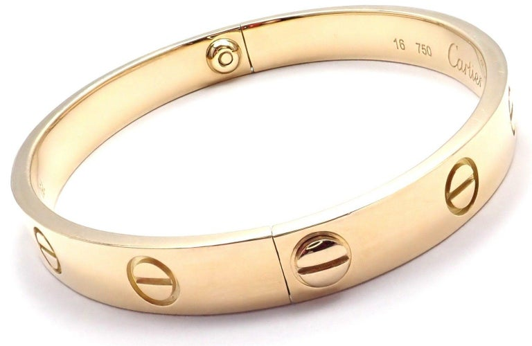 Cartier Love Yellow Gold Bangle Bracelet For Sale 4