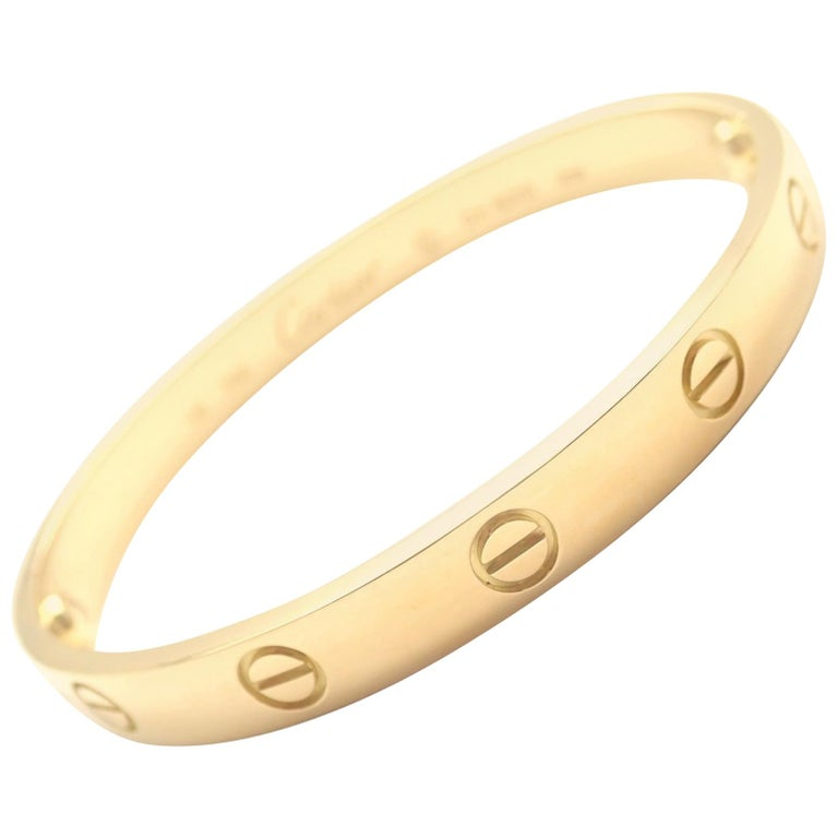 Cartier Love Yellow Gold Bangle Bracelet For Sale