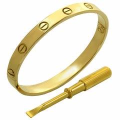 Cartier Love Yellow Gold Bangle Bracelet Sz.16 Pouch & Service Receipt.