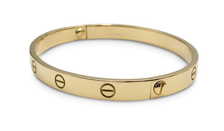 Women's or Men's Cartier 'Love' Yellow Gold Bracelet For Sale