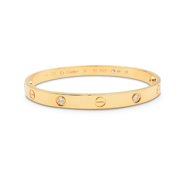Round Cut Cartier 'Love' Yellow Gold Four-Diamond Bangle For Sale