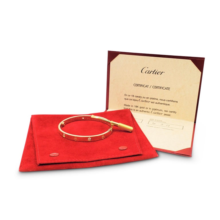 Cartier 'Love' Yellow Gold Four-Diamond Bangle In Excellent Condition For Sale In New York, NY