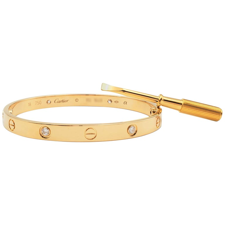 Cartier 'Love' Yellow Gold Four-Diamond Bangle For Sale