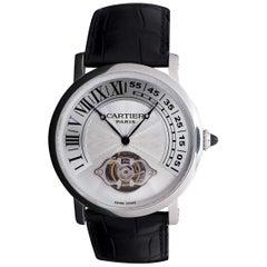 Cartier Ltd Edition Platinum Rotonde Tourbillon Retrograde Guilloche Dial Watch