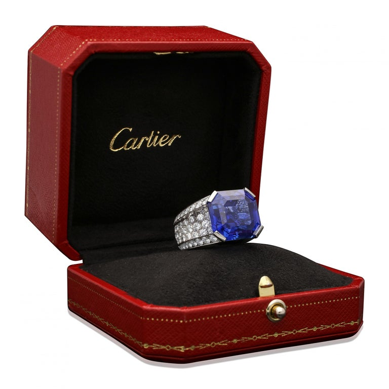 Emerald Cut Cartier Magnificent 27carat Sapphire and Diamond Ring For Sale