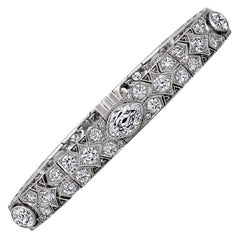 Cartier France Magnificent Art Deco Diamond Platinum Bracelet