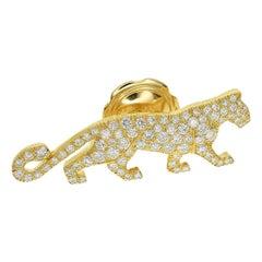 Cartier Mahango 18 Karat Yellow Gold Panthere Diamond Pin Brooch