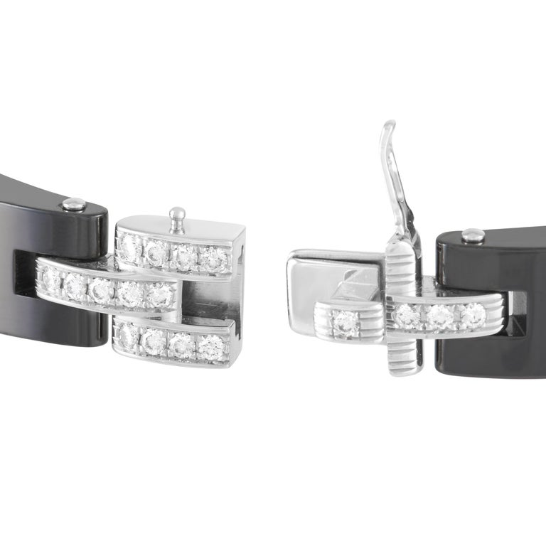 Round Cut Cartier Maillon De Cartier 18k White Gold and Ceramic 1.68 Ct Diamond Bracelet