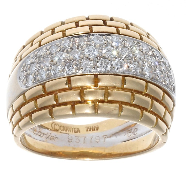 Modern Cartier Maillon Panther Diamond Gold Ring For Sale