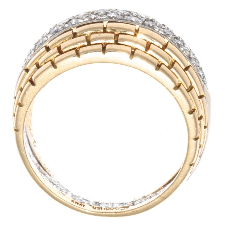 Single Cut Cartier Maillon Panther Diamond Gold Ring For Sale