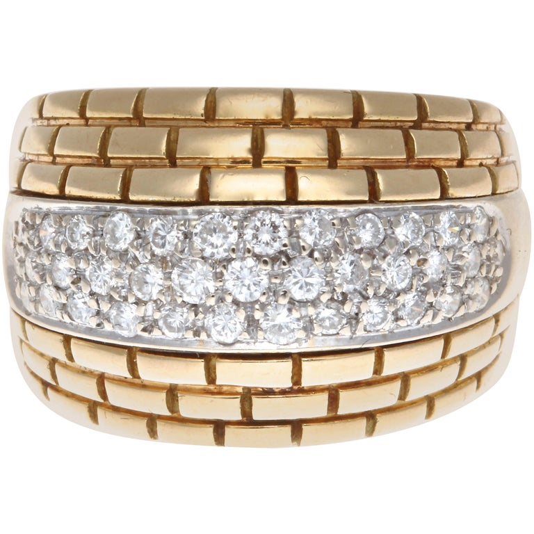 Cartier Maillon Panther Diamond Gold Ring For Sale