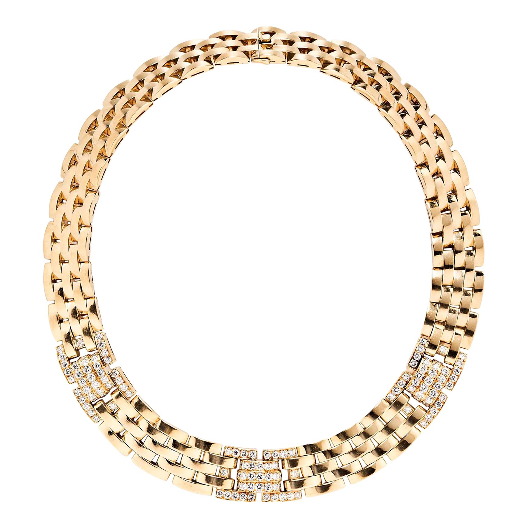 Cartier Maillon Panthère 18 Karat Yellow Gold and Diamond 5 Row Necklace