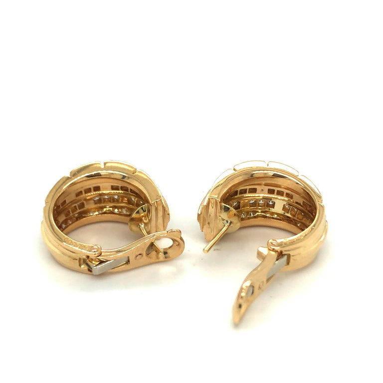 Brilliant Cut Cartier Maillon Panthère 18 Karat Yellow Gold and Diamond Earrings, 1999 For Sale