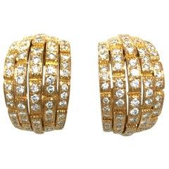 Cartier Maillon Panthère 18 Karat Yellow Gold and Diamond Earrings, 1999