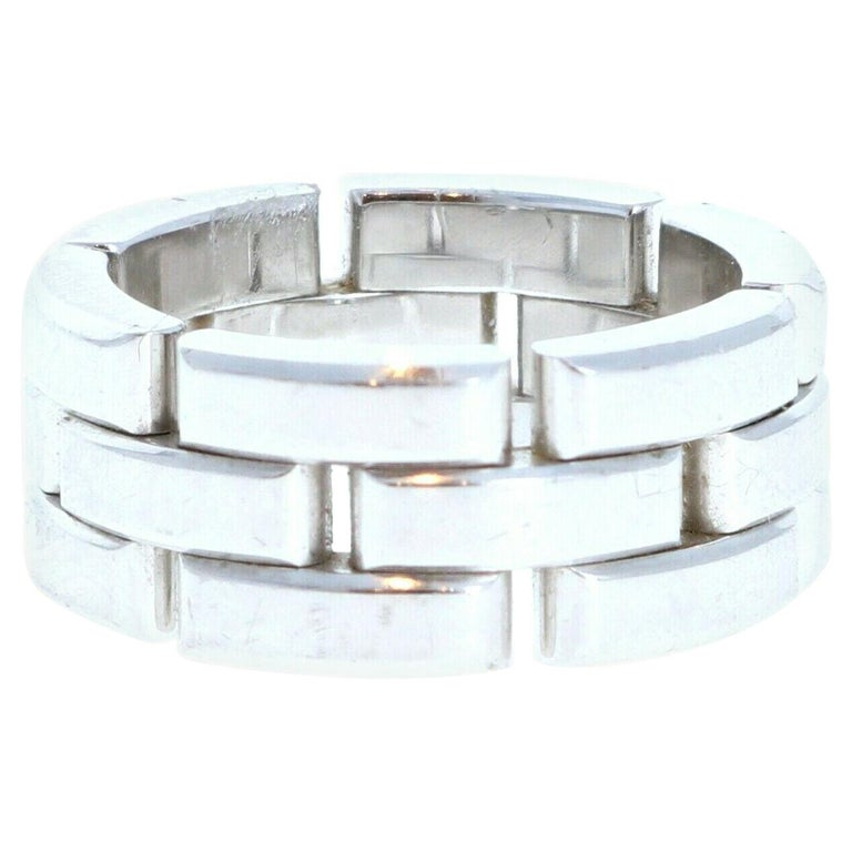 Cartier Maillon Panthere 18K White Gold Ring For Sale