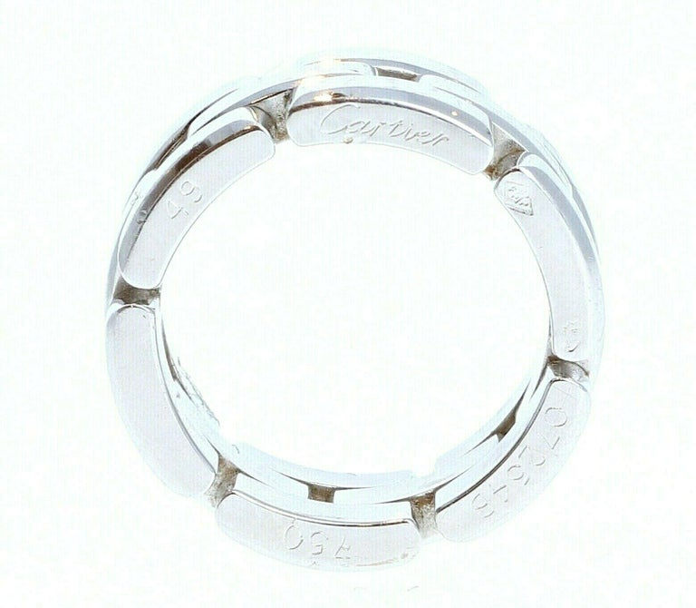 Cartier Maillon Panthere 18K White Gold Ring Size 49   For sale is a 18K white gold Cartier Maillon Panthere Ring  The ring is a size a EU 49 / US 4.75  Perfect worn day or night.  Get this stunning ring now!    Metal: 18k white Gold       Hallmark: