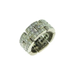 Cartier Maillon Panthere 3 Diamond-Paved Rows Ring in White Gold