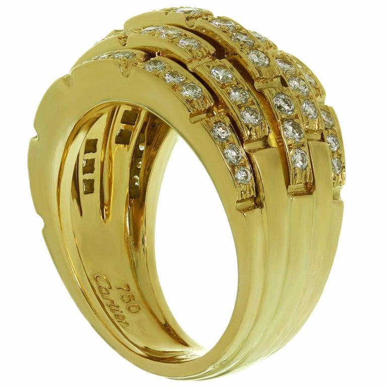 Cartier Maillon Panthère 5-Row Pave Diamond Yellow Gold Bombe Ring In Excellent Condition For Sale In New York, NY