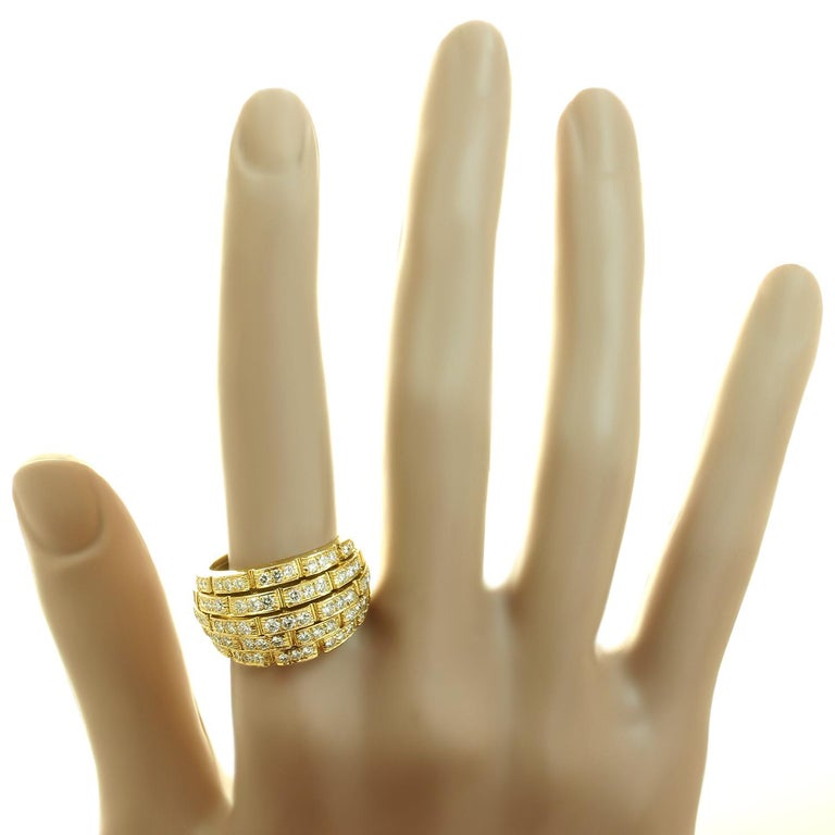 Women's Cartier Maillon Panthère 5-Row Pave Diamond Yellow Gold Bombe Ring For Sale