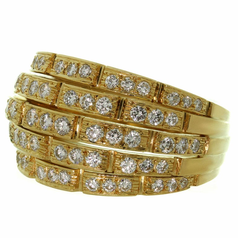 Cartier Maillon Panthère 5-Row Pave Diamond Yellow Gold Bombe Ring For Sale 1