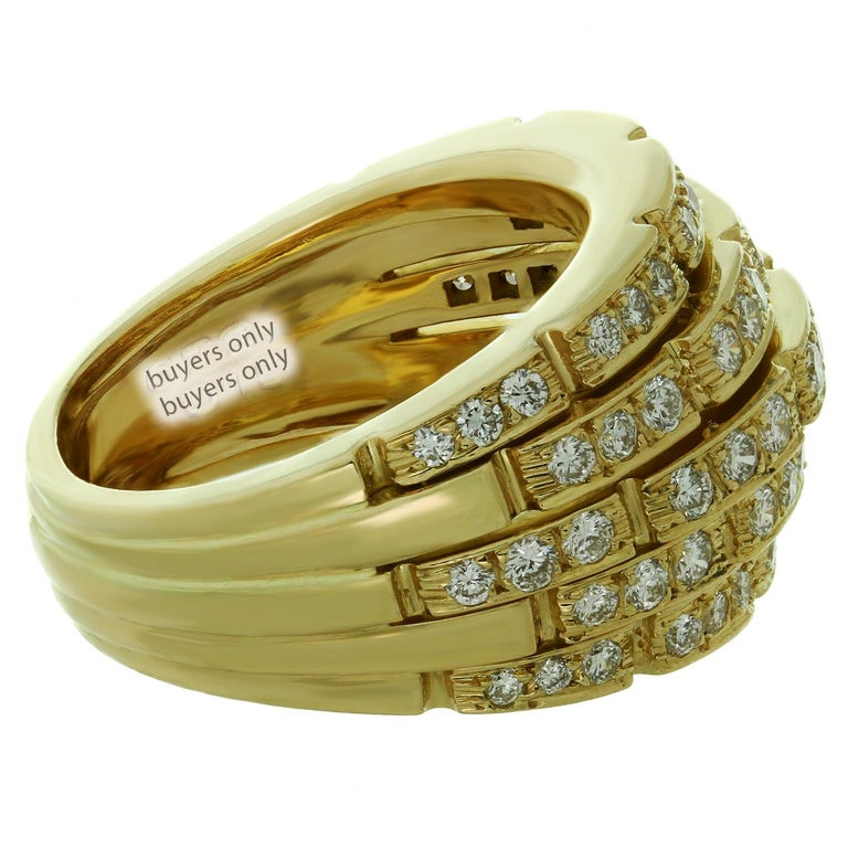 Cartier Maillon Panthère 5-Row Pave Diamond Yellow Gold Bombe Ring For Sale 2