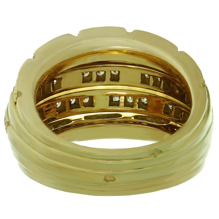Cartier Maillon Panthère 5-Row Pave Diamond Yellow Gold Bombe Ring For Sale 3