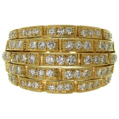 Cartier Maillon Panthère 5-Row Pave Diamond Yellow Gold Bombe Ring