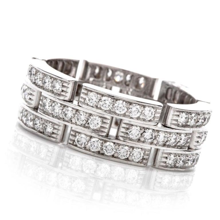 Round Cut Cartier Maillon Panthère Diamond 18 Karat Gold Link Unisex Band Ring For Sale