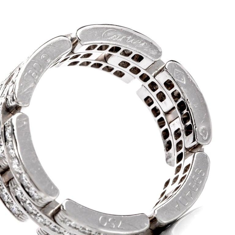 Cartier Maillon Panthère Diamond 18 Karat Gold Link Unisex Band Ring For Sale 1
