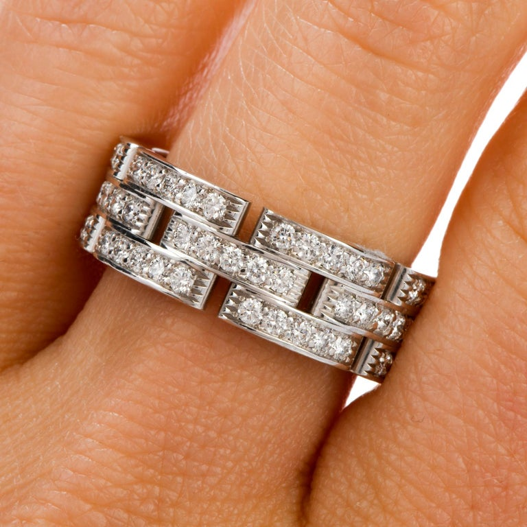 Cartier Maillon Panthère Diamond 18 Karat Gold Link Unisex Band Ring For Sale 2