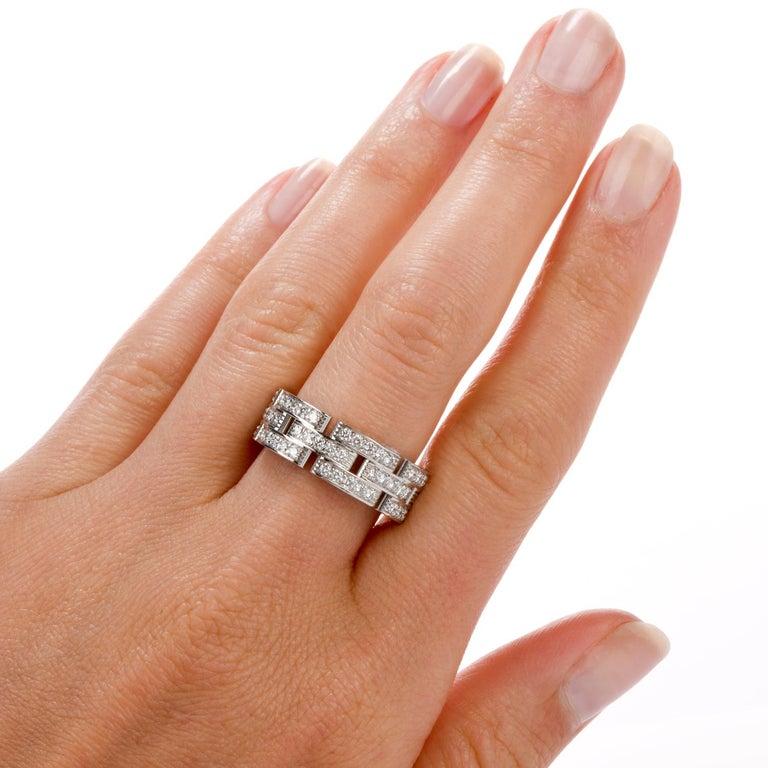 Cartier Maillon Panthère Diamond 18 Karat Gold Link Unisex Band Ring For Sale 3