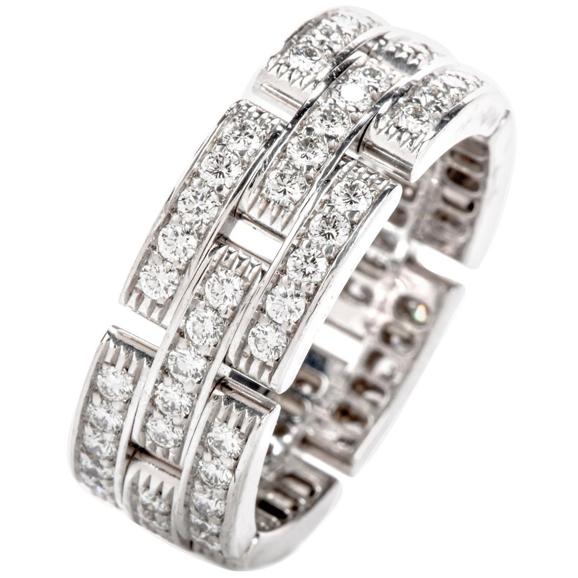 Cartier Maillon Panthère Diamond 18 Karat Gold Link Unisex Band Ring