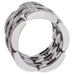 Cartier Maillon Panthère Diamond 18K White Gold 5 Row Ring Size 50