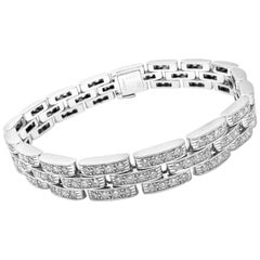 Cartier Maillon Panthere Diamond 3-Row White Gold Bracelet