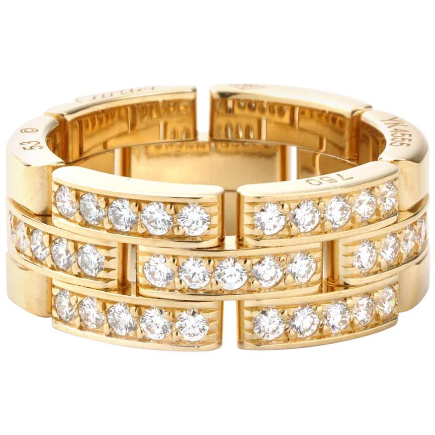 Cartier Maillon Panthere Diamond Band 18 Karat Yellow Gold