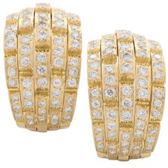 Cartier Maillon Panthere Diamond Earrings in 18 Karat Yellow Gold, circa 1980