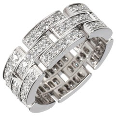 Cartier Maillon Panthere Diamond Ring in 18 Karat White Gold 1.80 Carat