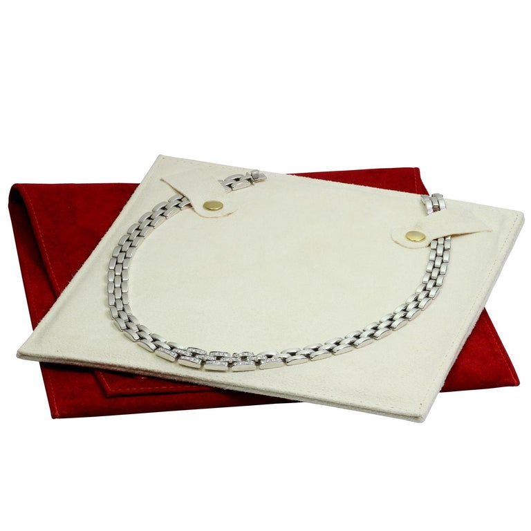 Brilliant Cut Cartier Maillon Panthere Diamond White Gold Necklace For Sale