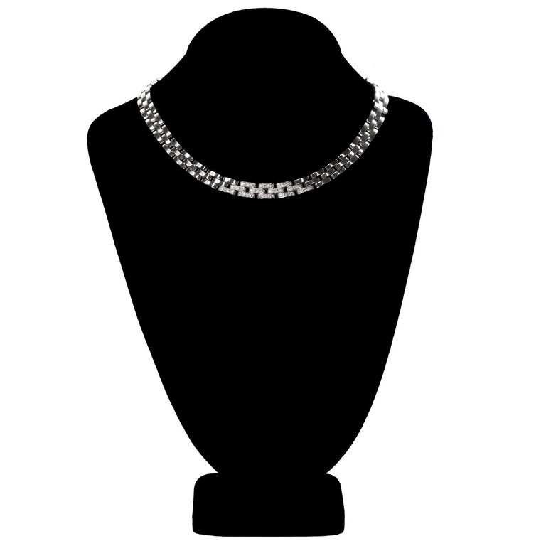 Women's Cartier Maillon Panthere Diamond White Gold Necklace For Sale