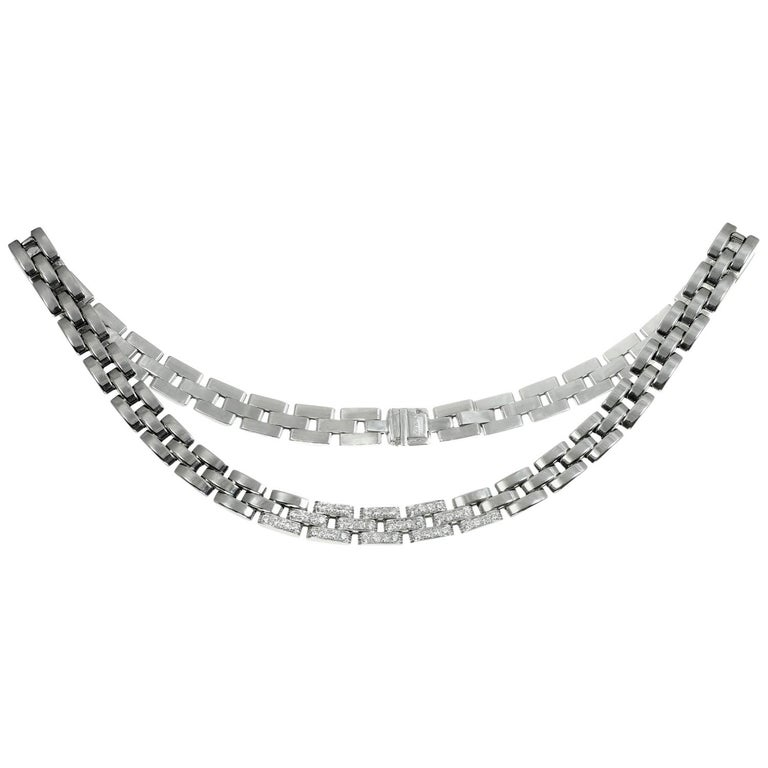 Cartier Maillon Panthere Diamond White Gold Necklace For Sale
