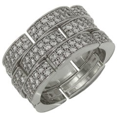 Cartier Maillon Panthere Diamond White Gold XX Large 3-Row Band Ring