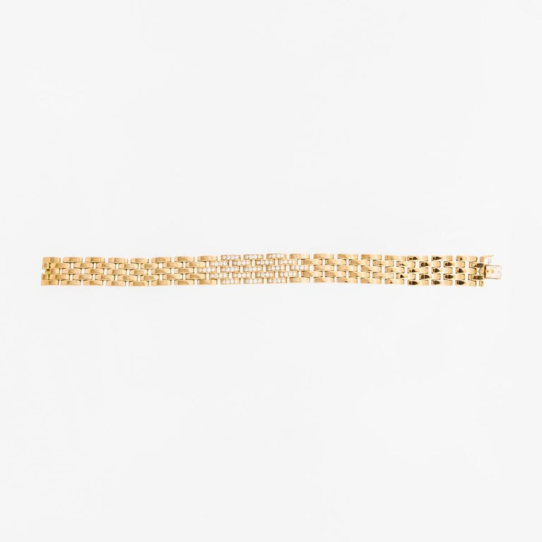 Cartier Maillon Panthère Five-Row Gold Link Bracelet with Diamonds In Good Condition For Sale In Houston, TX