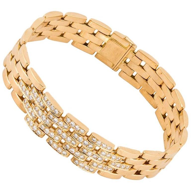 Cartier Maillon Panthère Five-Row Gold Link Bracelet with Diamonds For Sale