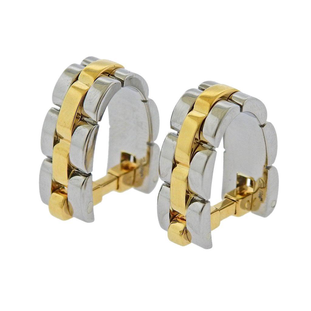 Cartier Maillon Panthere Gold Steel Stirrup Cufflinks