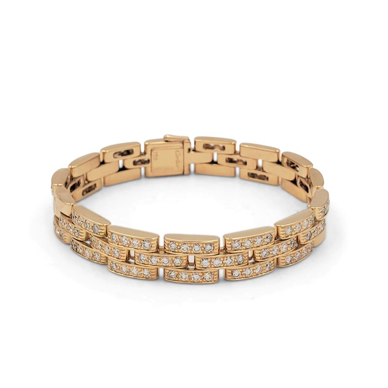 Round Cut Cartier 'Maillon Panthere' Three-Row Yellow Gold and Diamond Bracelet