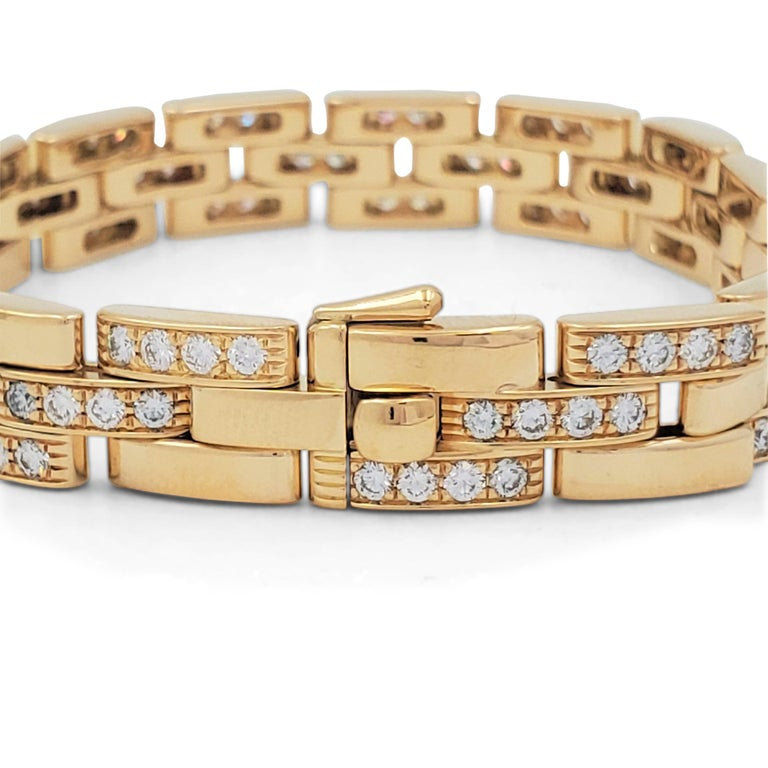 Women's Cartier 'Maillon Panthere' Three-Row Yellow Gold and Diamond Bracelet