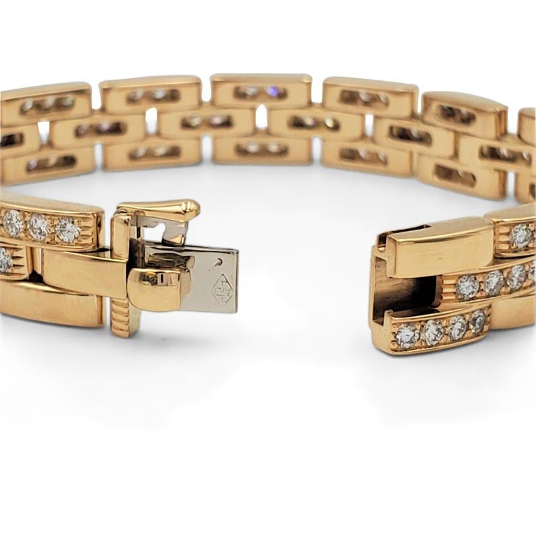 Cartier 'Maillon Panthere' Three-Row Yellow Gold and Diamond Bracelet 1