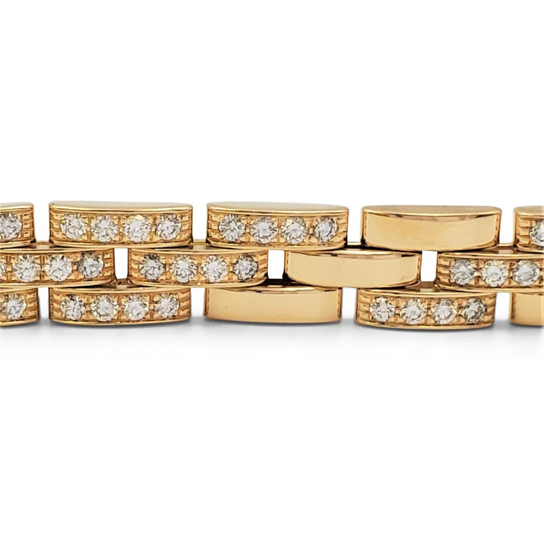 Cartier 'Maillon Panthere' Three-Row Yellow Gold and Diamond Bracelet 2